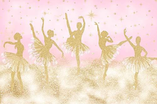 Baocicco 7x5ft Ballerina Backdrop Girl's Birthday Party Backdrop Elegant Dancing Girls Champagne Glitters Photography Background Wallpaper Decor for Girl's Bedroom Fabulous Girls Lady Portrait