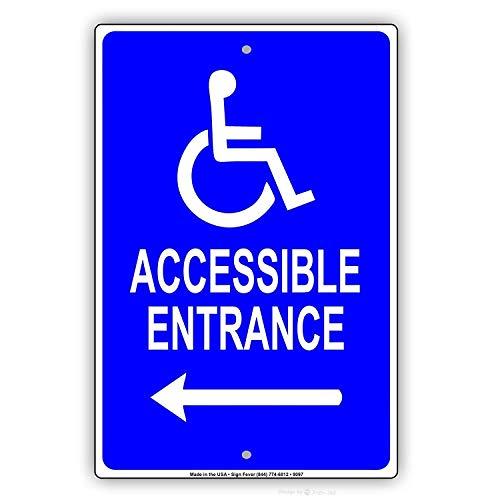 Jackgold Honig Wand-Dekoration Warnschild Handicap barrierefreier Eingang mit Pfeil Rollstuhl Richtung, Verkehrsschild, 30,5 x 40,6 cm, Aluminium Blechschilder