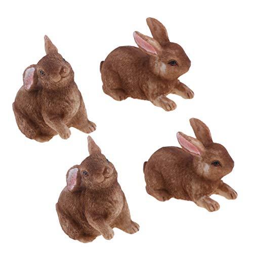 Baoblaze Juego de 4 Conejos Marrones Figuras de Resina Jardín de Hadas Micropaisaje