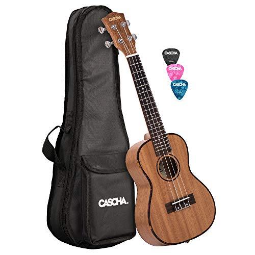 CASCHA Set ukulele da concerto in mogano, piccola chitarra Hawaii per principianti con borsa, 3 grimaldelli e corde del marchio Aquila