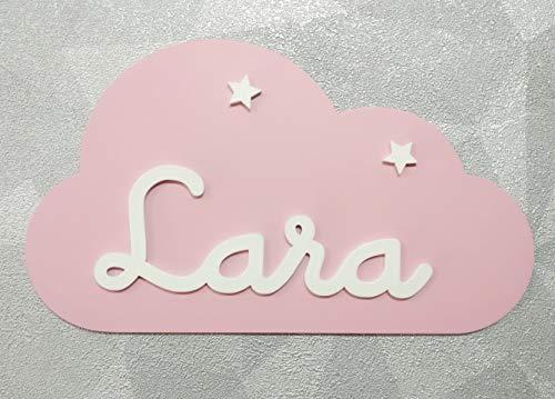 Placa decorativa infantil de madera en forma de nube personalizada con el nombre para niño y niña, regalos originales y únicos, decoraciones de pared o puerta