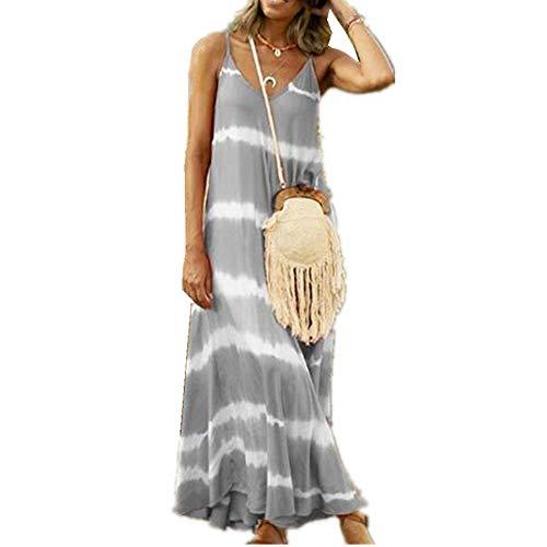Vestido De Raya Estampado De Verano Vestido Largo Suelto De Mujer Casual De Talla Grande