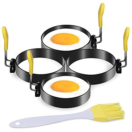 LEASEN エッグリング 4個パック 3インチ 食品グレード ノンスティックコーティング ステンレススチール パンケーキ型 抗火性のシリコンハンドル付き エッグマフィン、サンドイッチ、オムレツ、卵ベネディクト、パンケーキ、イエロー