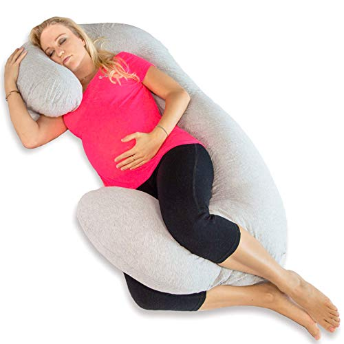 FORTEM Pregnancy Pillow for Maternity, C Shaped Full Body Pillow w/Knee & Neck Support, Washable Cover