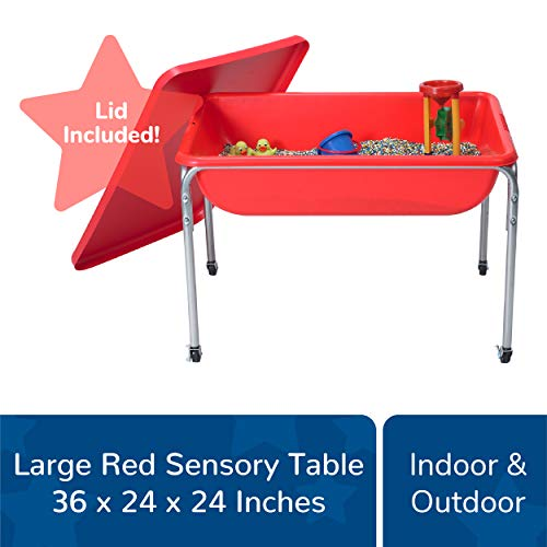"""Children's Factory Large Sensory Table and Lid Set, 36"""" by 24"""" by 24"""", Red - Fill with Water, Sand, Beads and More - Lid for Safe and Clean Storage - Made of Durable Plastic - Indoor or Outdoor Use"""