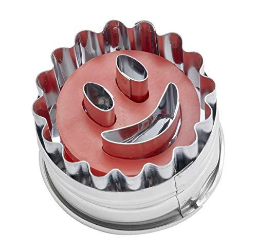 """Dr. Oetker Ausstecher Ø 5cm """"Lachendes Gesicht"""", Ausstechform für die Weihnachtszeit, Ausstecher mit Auswerfer für Plätzchen und Kekse - spülmaschinengeeignet (Farbe: silber/rot) Menge: 1 Stück"""
