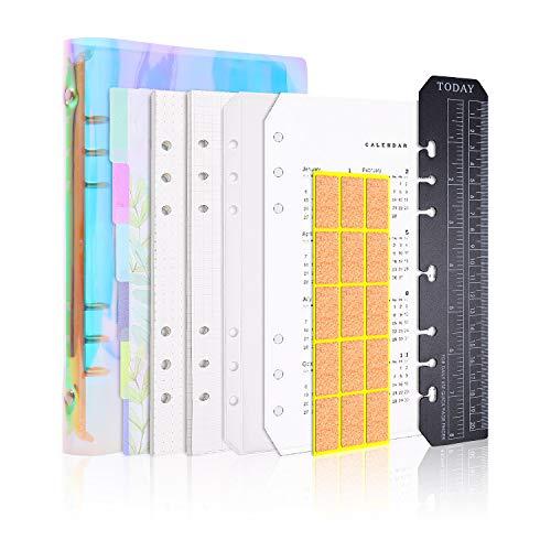 Larcenciel A5 Cuaderno,6 anillos recargables cuaderno,...