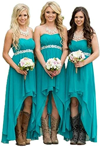 Diandiai Strapless Turquoise High Low Prom Bridesmaid Dresses Wedding Party Dresses Turquoise 6