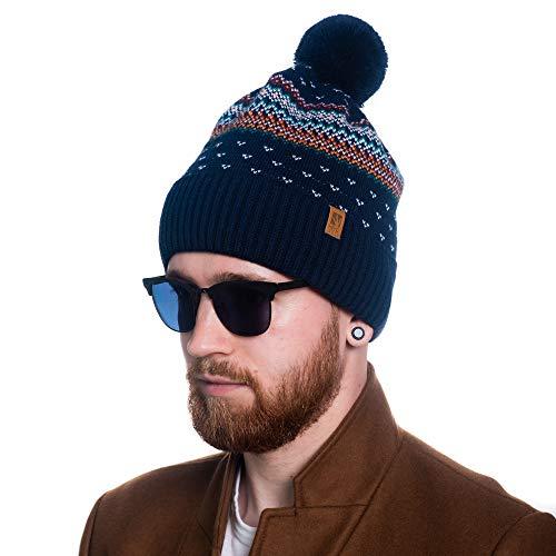 HEYO Unisex Wintermütze | Bommelmütze | H00002 | Beanie mit Fleece gefüttert | Warme Strickmütze mit Pom Pom Norweger Muster