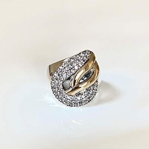 Grazia P. Breiter Eternity Damen-Ring 585er Gelbgold und Sterling Silber mit Micro Pave Zirkonia Bicolor, Bimetall, Handgefertigt
