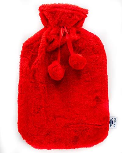 Bolsa de agua caliente con funda axion | Incluye funda cobertora para un uso seguro | Para calentar pies o para calentar cama | Capacidad aprox. de 2 l