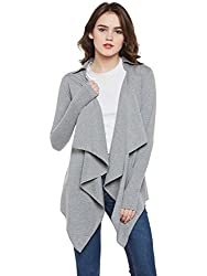 Hypernation Grey Color Cotton Waterfall Shrug for Women