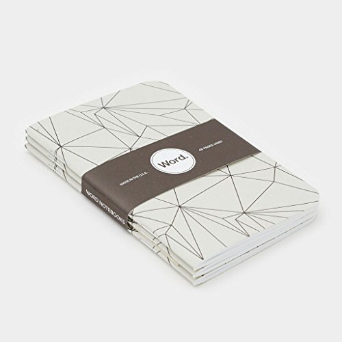 Word. 3 Pack Lined Acid Free Recycled Pocket Notebooks (Grey Polygon) Photo #2
