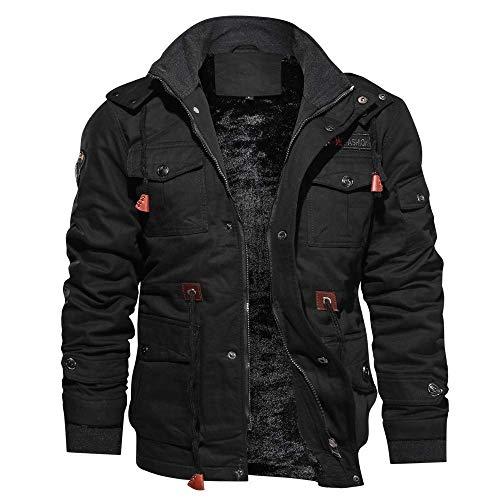 Eaylis Parka Herbst Winter Warm Jacke Plus Samt Reißverschluss Tasche Übergangsjacke Windbreaker Übergrößen Sport Coat Einfarbig M-4XL