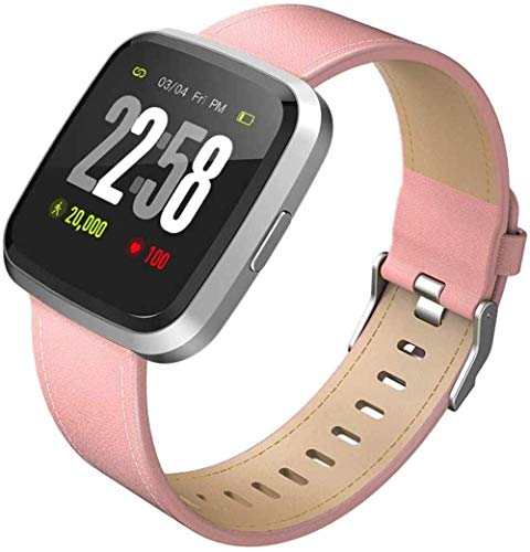 JIAJBG Smart Watch Fitness Tracker Ip67 Waterproof Men Women Color Full Touch Screen Fitness Watch Bluetooth Smart Watch with Sleep-Grey Best Gift/Pink