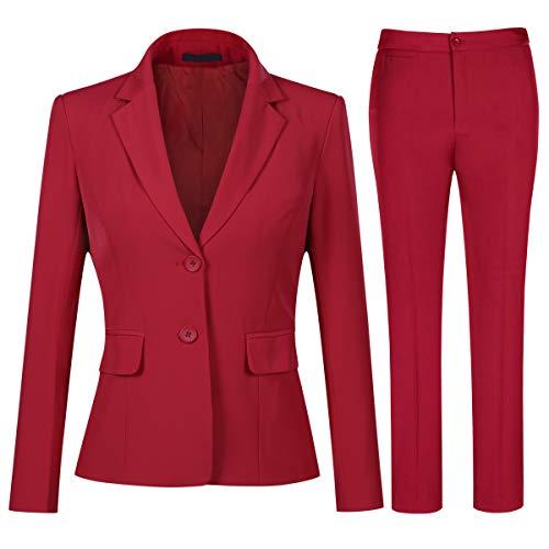 YYNUDA - Completo da donna in due pezzi, giacca con due bottoni e pantaloni, elegante, casual, da ufficio Rosso 42