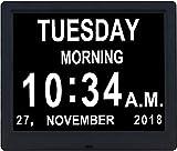 Relojes Diarios con Calendario Digital De 9 Pulgadas, 8 Alarmas, Día Extra Grande No Abreviado para Personas con Problemas De Visión, Ancianos, Demencia, Tiempo De Planificación De Pérdida De Memoria