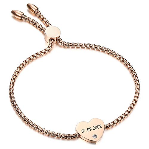 MeMeDIY Personalizado Pulsera con Etiqueta de Corazón Piedra de Nacimiento Personalizada Nombre Grabado Fecha para Mujer Novia Niña Tobillera Ajustable de Acero Inoxidable Regalo de Amor(Oro Rosa)