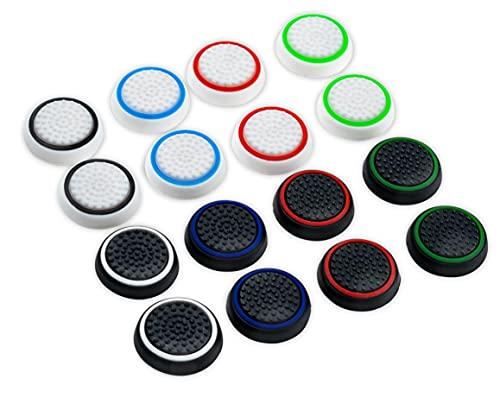 Controller Planet Thumbstick Grip Kappen (für PS5 und PS4) | Controller Aufsätze für besseren Grip und Schutz der Sticks (16 Stück im Set)