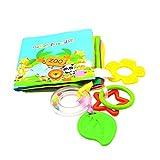 Oyfel. Livre eveil Bebe duAnimal de Tissu Lavable avec Anneau de Dentition Jeu éducatif pour Bambin Enfant Bébés de 0-12 Mois