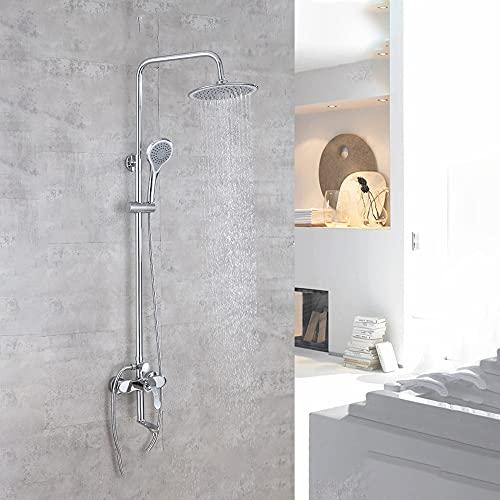 ALYHYB Accesorio de ducha al aire libre de triple función de cromo cepillado montado en la pared sistema de ducha expuesto con 3 funciones de ducha de mano, cabezal de ducha de lluvia de 8 pulgadas