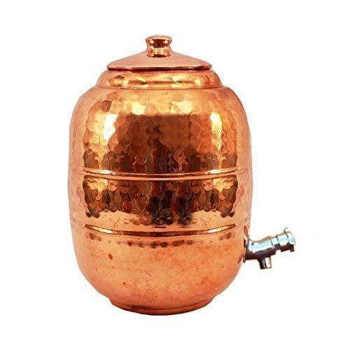 Rastogi Handicrafts Depósito de almacenamiento de agua de cobre puro de 6,5 litros con grifo, cocina, hogar, jardín ✅