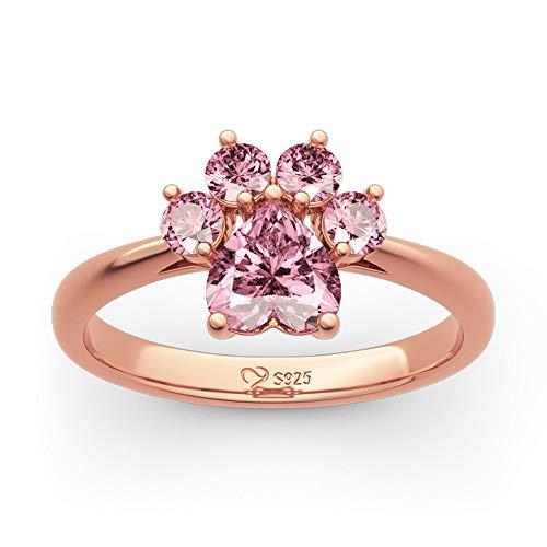 Jeulia Damen Herzschliff Sterling Silber Ring Unaufhaltsame Liebe Katzenpfote Rosegold Ring mit Pink Steine Bestes Frau Freundin (Rosegold, 60 (19.1))