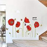 Belle Rouge Coquelicot Fleurs Papillons Plante Ornemental Stickers Muraux Chambre Salon Couloir Mur Décor Diy Vinyle