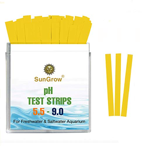 SunGrow pH Test Strip Kit for Bettas and Aquariums, Easy to Use, Easy to Read, Works for pH Range 5.5-9.0, Quick Results, Ideal for Hydroponic Plants, 50 Strips
