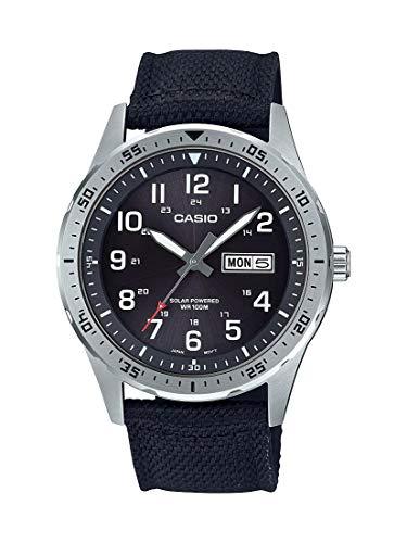 Casio - Correa de tela de cuarzo de acero inoxidable con energía solar, color negro, 22 relojes casuales (modelo: MTP-S120L-1AVCF)