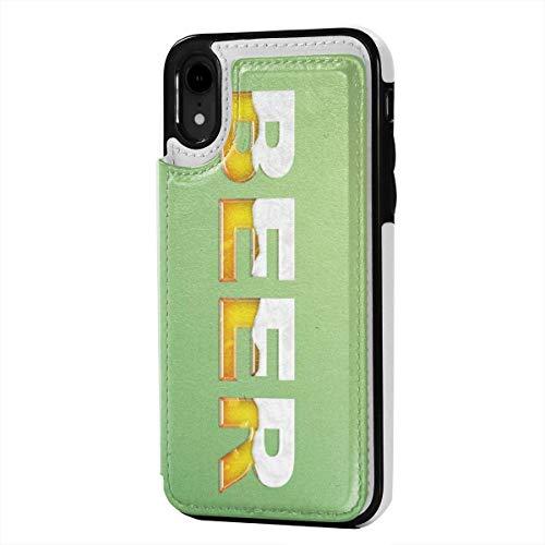 Badwang Lederen iPhone XR Portemonneehouder, Kaarthouder Case met Creditcard Slots Kip Naadloze Print, Anti-Scratch Schokbestendig Zachte TPU Bumper Full-Body Beschermende Hoesje Cover voor iPhone XR 6.1 Inch, Eén maat, Bier Logo