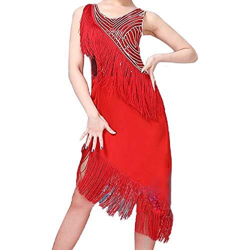 GOWE Costumi Donna Ballo Latino - Scintillante Abito Senza Maniche Sexy Paillettes Frange Latino Vestiti Gonna per Le Donne, Rosso/XL