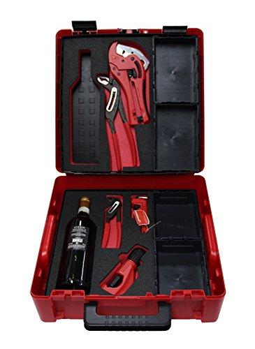 Rothenberger 1000002102 Werkzeug Box R-System | enth. Wasserpumpenzangen, Rohrzange, Kunstoffschere, Rohrabschneider, Einlegeböden, Aufbewahrungsboxen | im Koffer (Jubiläums-Set)