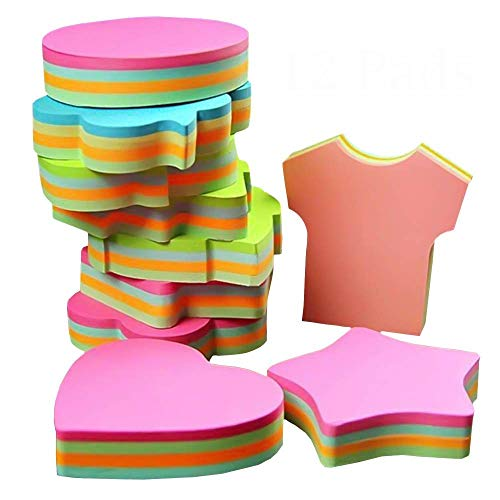 Feuillets autocollants, autocollants auto-adhésifs amovibles - 6 plaquettes par paquet - 100 feuilles par Pad -Per Pad 4 couleurs - Paquet 6 formes différentes à l'intérieur-76mm x 76 mm