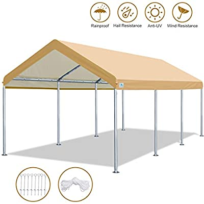 ADVANCE OUTDOOR 10 x 20 FT Heavy Duty Carport Car Canopy Garage Shelter Party Tent, Adjustable Height from 6ft to 7.5ft (Beige)