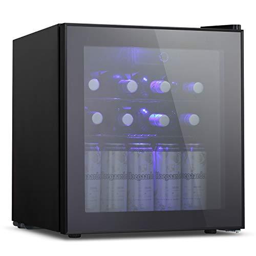 Antarctic Star 18 Bottle Wine Cooler/Cabinet Beverage Refigerator Small Wine Cellar Soda Beer Counter Top Bar Fridge Quiet Operation Compressor Freestanding Door Black Glass