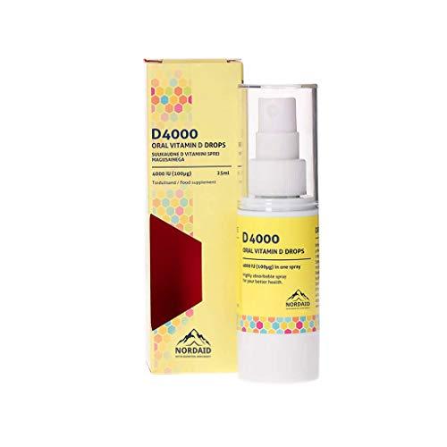 Nordaid Vitamina D3 Spray Oral 4000 IU Mejora el Sistema Inmune y Ayuda a Fortalecer los Huesos, Alta Absorción, Sin Azúcar - 30 ml