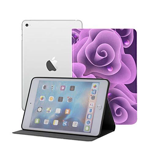 IpadMiniCuteCase Vivid Deep Purple Flower Rose CaseMiniIpadKids Ipad Mini 1/2/3 Auto Sleep/Wake with Multi-Angle Viewing for Ipad Mini 3/ Mini 2/ Mini 1
