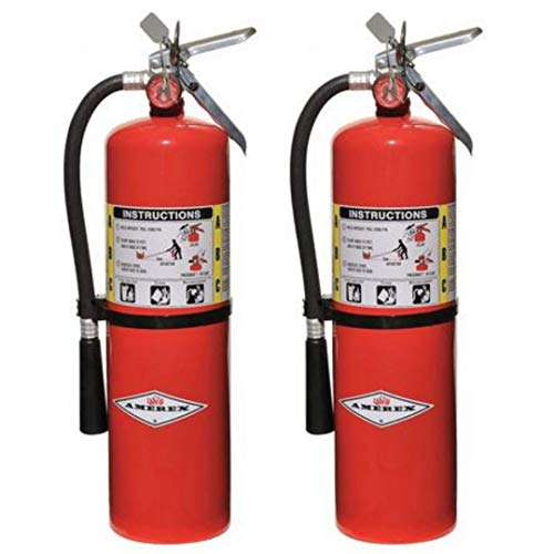 Amerex 10 Pound Stored Pressure ABC Dry Chemical 4A:80B:C Steel Multi-Purpose Fire Extinguisher For Class A, B And C Fires With Anodized Aluminum Valve, Wall Bracket, Hose And Nozzle (2 Pack)