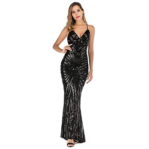 Womens Sexy V-neck Sequin Mermaid Evening Gown Dress for Party Prom Wedding Cocktail (Black,L)