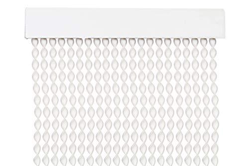 Cortina para Puerta Tiras PVC 200x90cm,Cortina para Puerta Exterior,10 Color (Blanco+Filo Transparente)