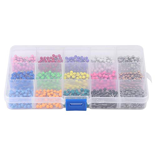 HEEPDD Push Pennen, 900 stuks, 15 kleuren, ronde kop, naaien pinnen voor bulletjes, stof, markering van bruiloften, corsage bloemen