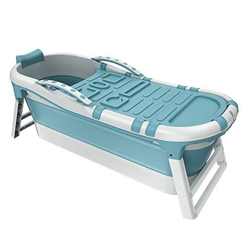 Bañera Espesa Plegable, bañera de hidromasaje para el hogar, bañera Adulta portátil, Aislamiento Antideslizante, Cubierto,Azul