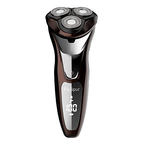 Electric Razor for Men,FlySpur 3D Rechargeable 100% Waterproof Men's Rotary Shavers Wet & Dry with Pop-up Trimmer LED Display 120 Minutes Shaving (Coffee)