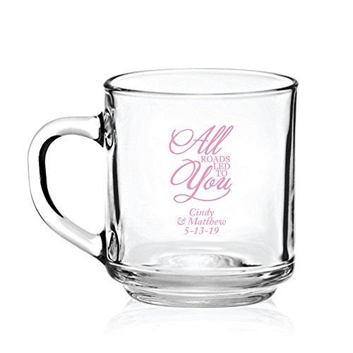 Personalized Color Printed Glass Coffee Mug - All Roads Led To You - Pink - 144 pack