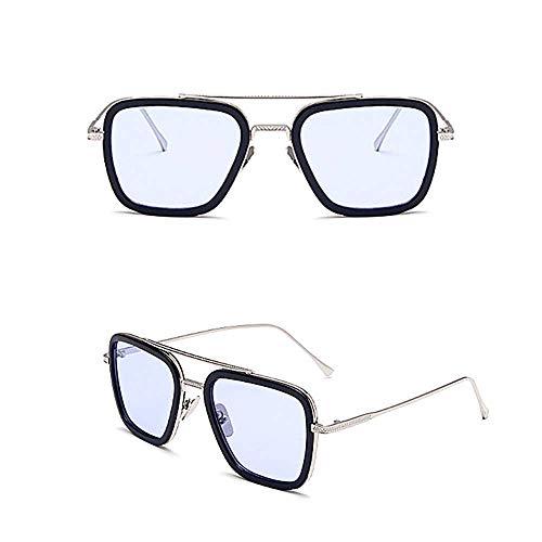 Pandacos Spider Man Sonnenbrille Tony Stark Retro Edith Brillen Metallrahmen Blau Schrittweise Linsen für Damen und Herren