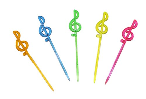 mugesh Partysticks mit Violinschlüssel/Notenschlüssel Neonfarben - Schönes Geschenk für Musiker