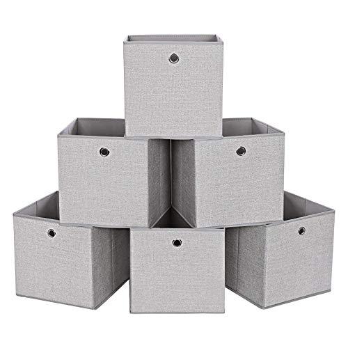 SONGMICS Aufbewahrungsbox, 6er Set, Stoffbox, Aufbewahrungskorb, Organizer für Spielzeug, Kleidung, hellgrau RYFB06W