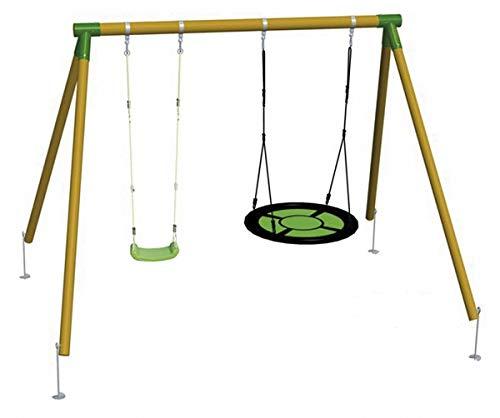 | MASGAMES | Columpio de madera DOBLE PLUS | con asiento plano de plástico y cuerdas regulables + asiento nido circular | madera tratada | anclajes incluidos | uso doméstico |