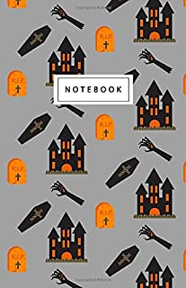 """Notebook: Halloween Haunted House Pattern - Beautiful Design: 5.5"""" x 8.5"""" lined pages. Great for note-taking/Composition/W..."""